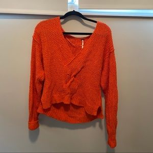 Free People Briaded Front Orange Sweater XS